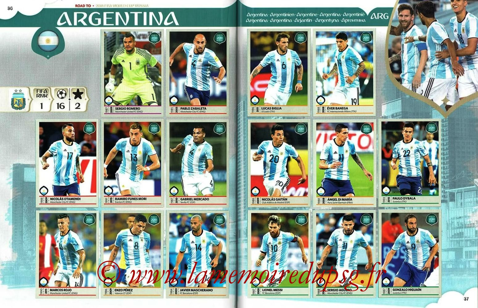 2018 - Panini Road to FIFA World Cup Russia Stickers - Pages 36 et 37 - Argentine