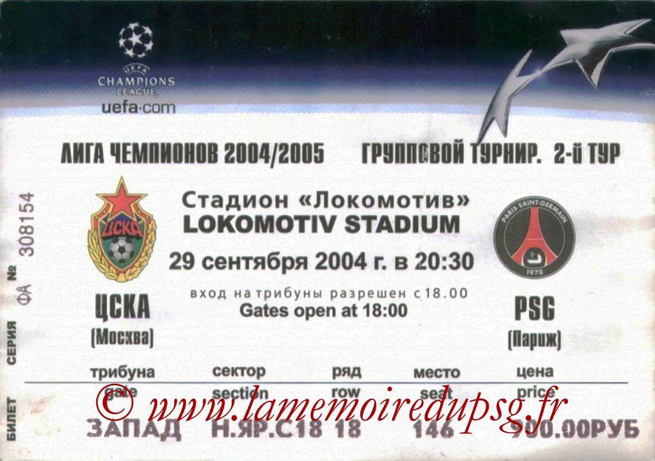 2004-09-29  CSKA Moscou-PSG (2ème Journée Poule C1)