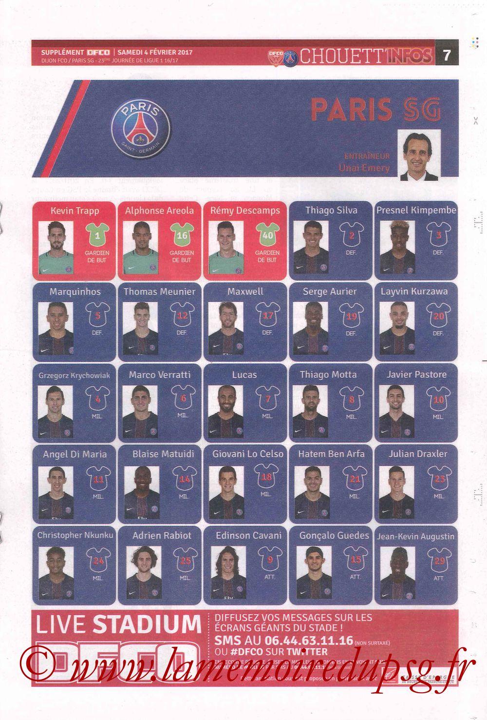2017-02-04  Dijon-PSG (23ème L1, Chouett' Info N°12) - Page 7