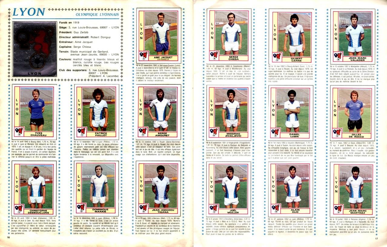 1979-80 - Panini 1980 - Pages 16 et 17 - Olympique Lyonnais