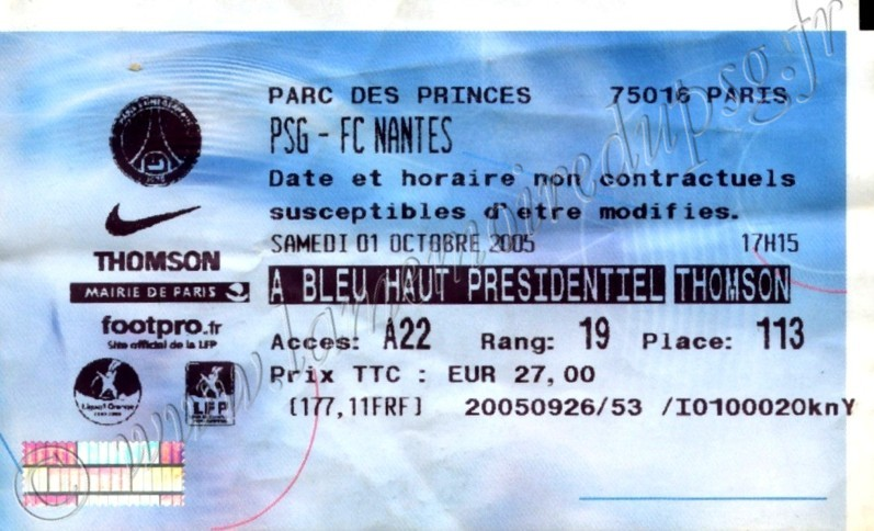 2005-10-01  PSG-Nantes (10ème L1, Billetel)