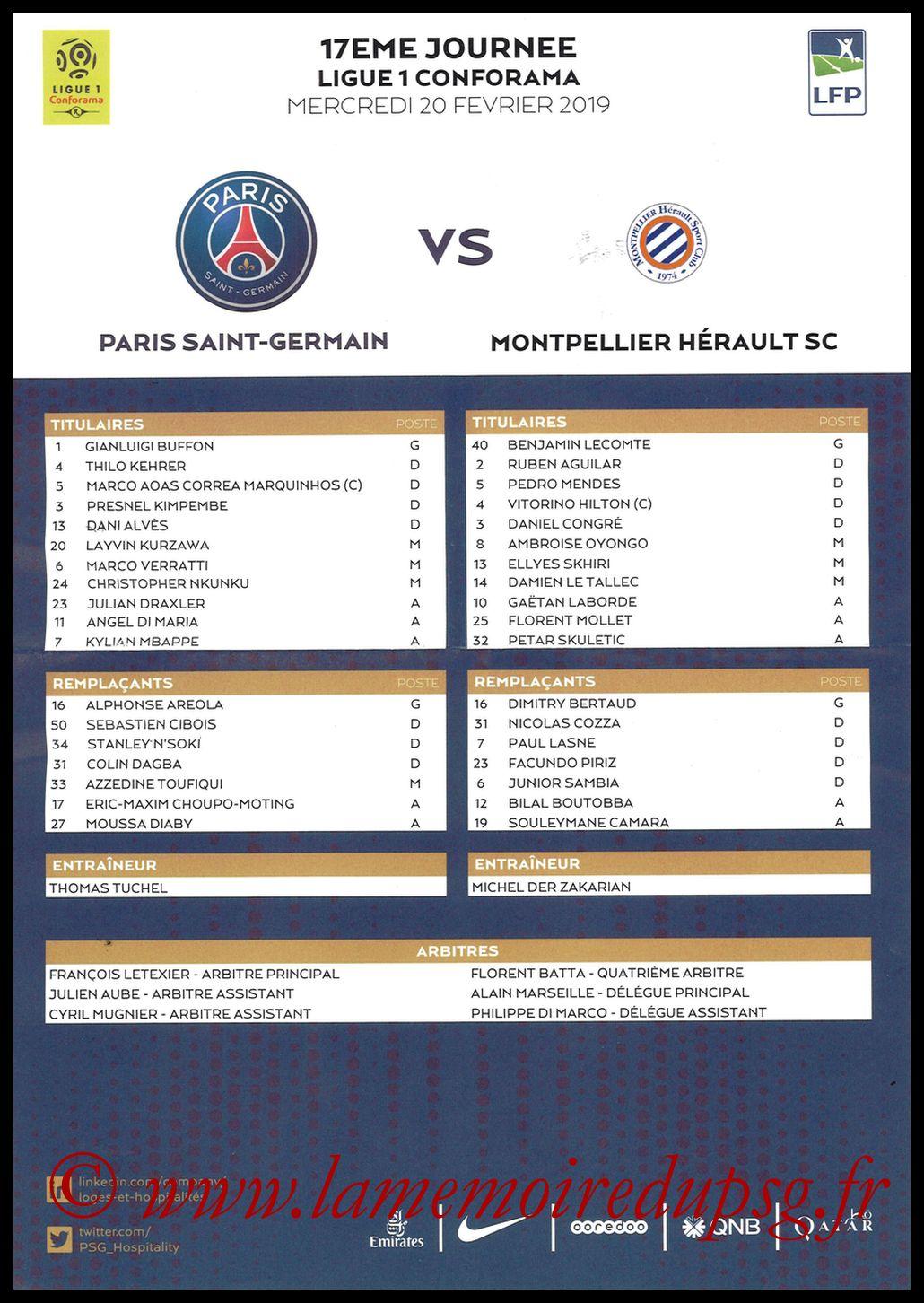 2019-02-20  PSG-Montpellier (17ème L1 en retard, Feuille de match)