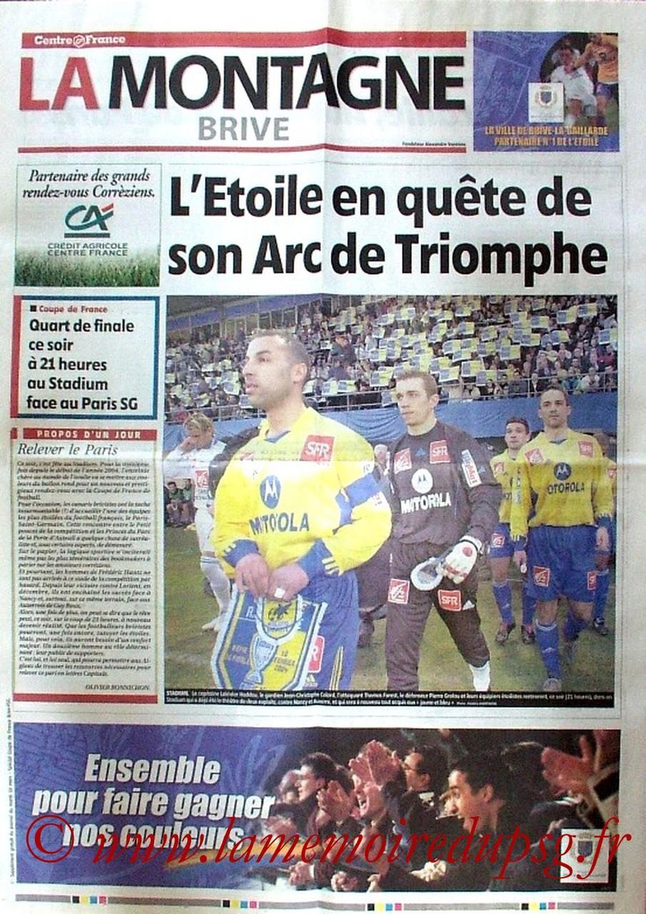 2004-03-16  Brive-PSG (Quart Finale CF, Supplément de la Montagne)