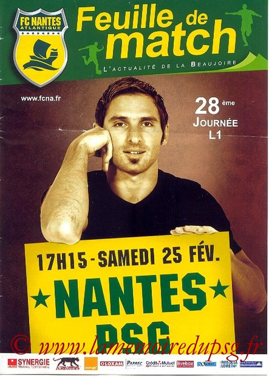 2006-02-25  Nantes-PSG (28ème L1, Feuille de match)