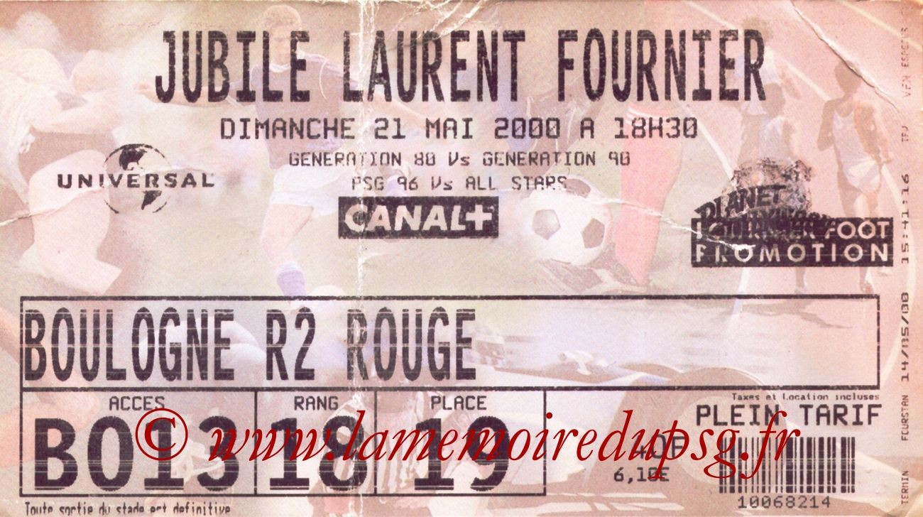 2000-05-21  Jubilé Laurent Fournier (Amical au Parc des Princes)
