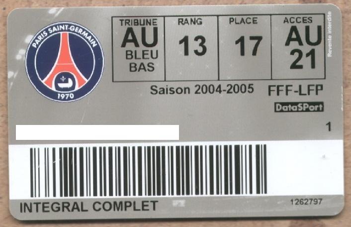 Carte d'abonné PSG 2004-05