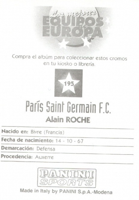 N° 195 - Alain ROCHE (Verso)
