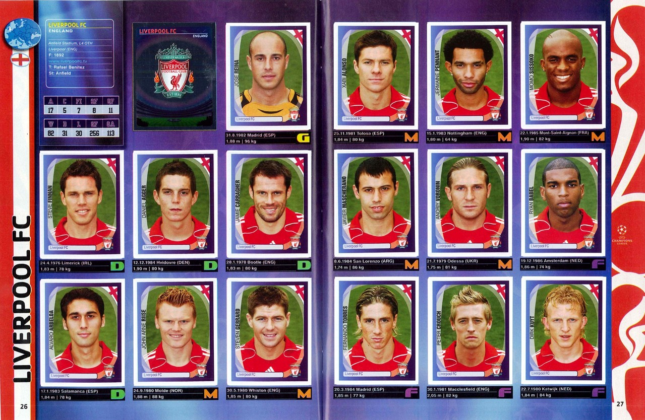 2007-08 - Panini Champions League - Pages 26 et 27 - Liverpool FC