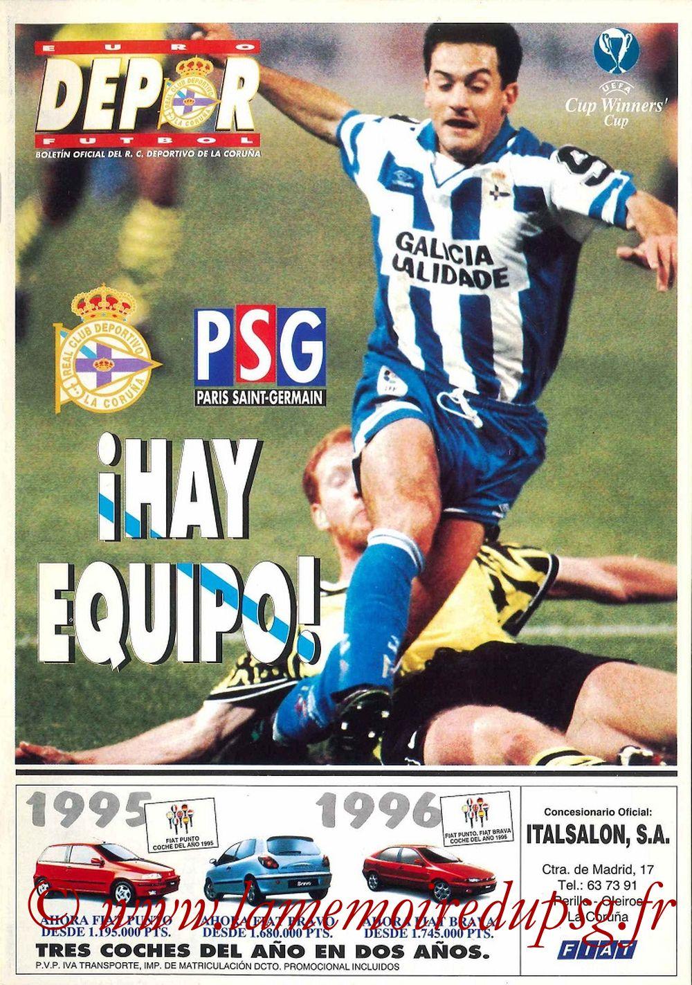 1996-04-04  La Corogne-PSG (Demi Finale Aller C2, Programme officiel)
