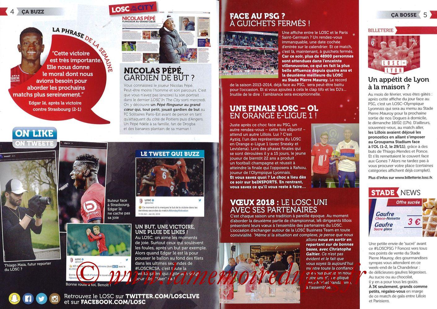 2018-02-03  Lille-PSG (24ème L1, Réservoir Dogues N°82) - Pages 04 et 05