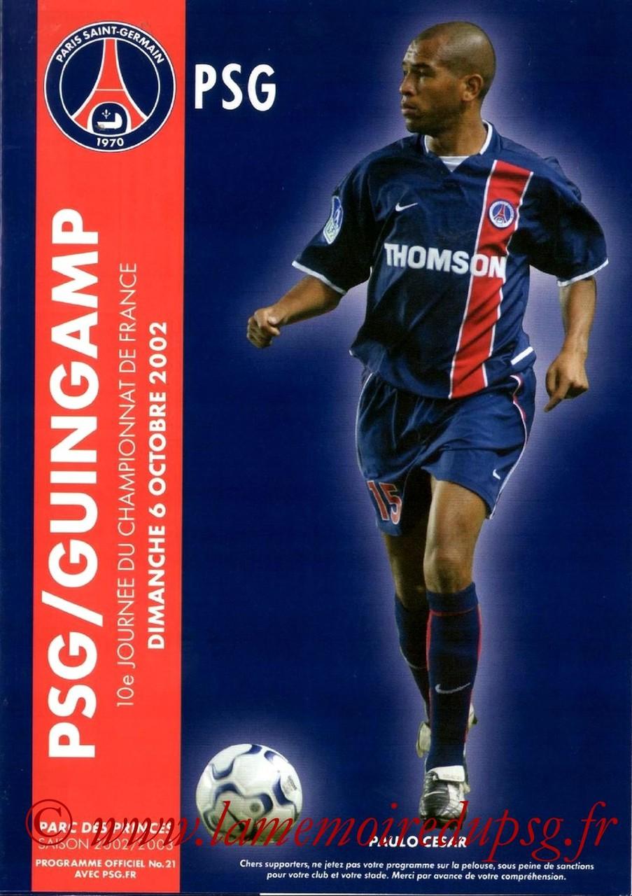 2002-10-06  PSG-Guingamp (10ème D1, Programme officiel N°21)