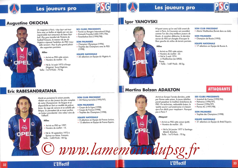 1998-99 - Guide de la Saison PSG - Pages 32 et 33