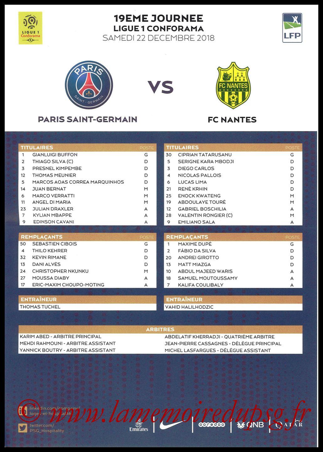 2018-12-22  PSG-Nantes (19ème L1, Feuille de match)