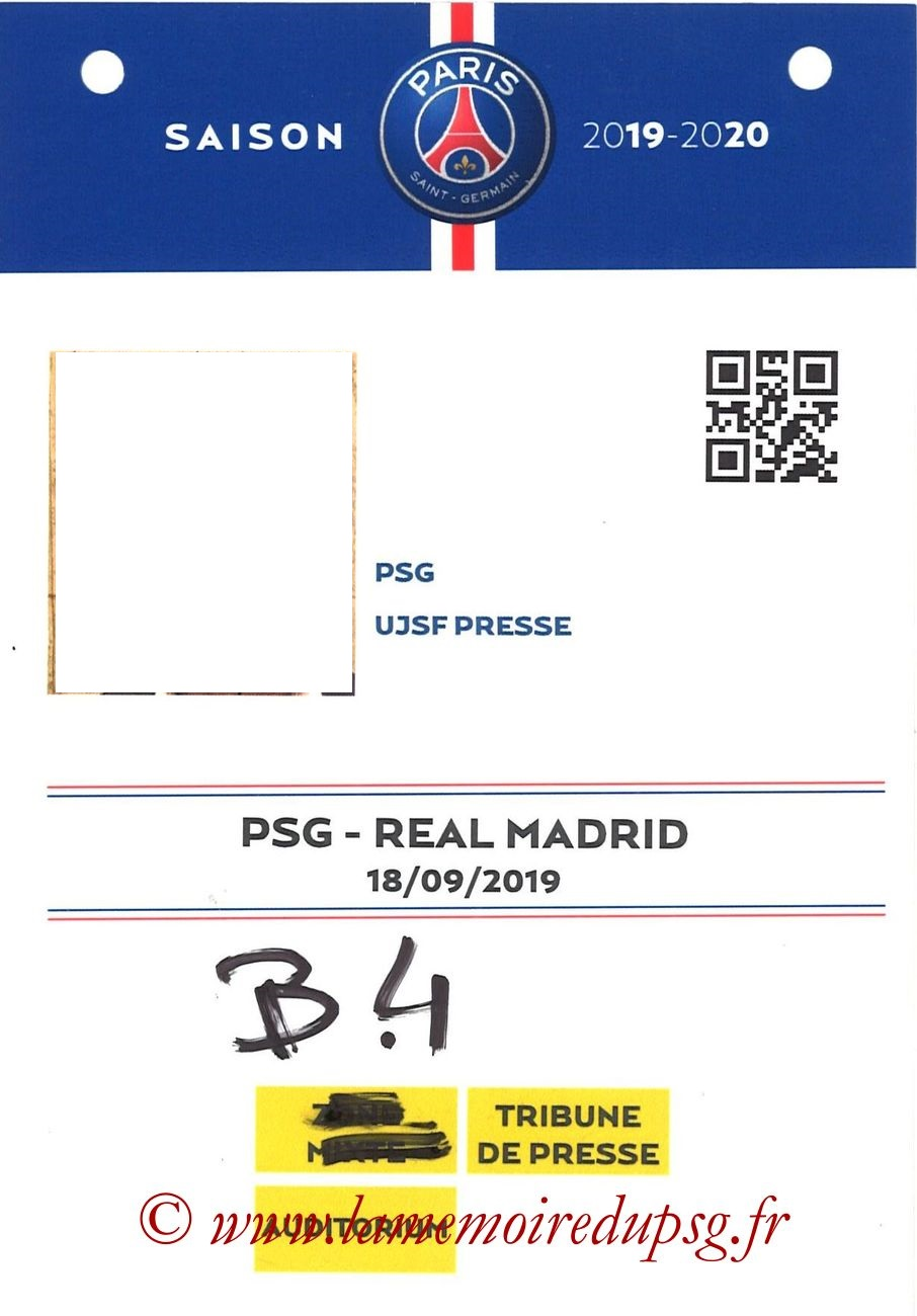 2019-09-18  PSG-Real Madrid (1ère C1, Badge presse)