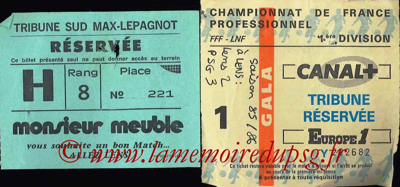 1985-09-20  Lens-PSG (12ème D1, Ticket sans nom)