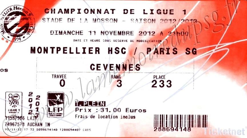2012-11-11  Montpellier-PSG (12ème L1, Ticketnet)