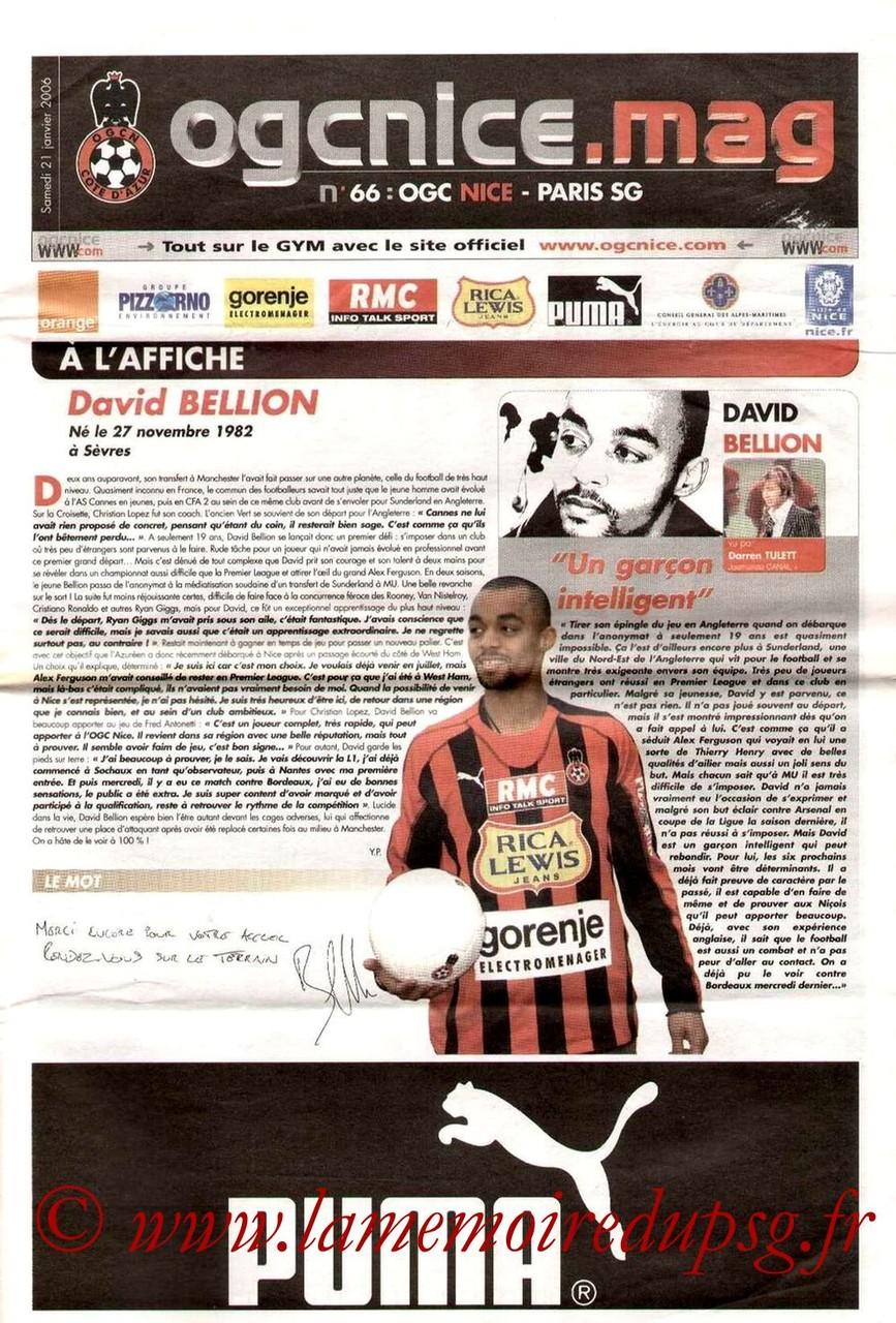 2006-01-21  Nice-PSG (23ème L1, OGC Nice mag N°66)