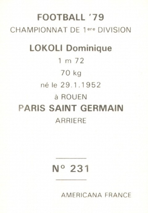 N° 231 - Dominique LOKOLI (Verso)