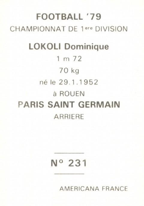 N° 231 - Dominique LOKOLI (Verso)