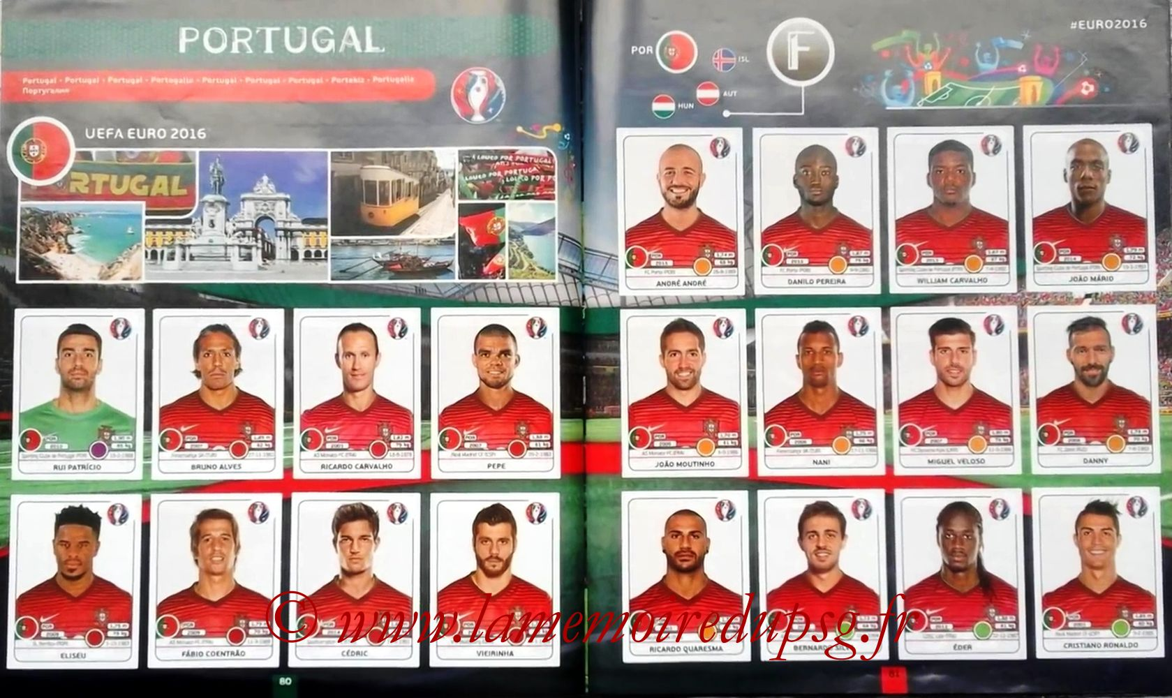 Panini Euro 2016 Stickers - Pages 80 et 81 - Portugal
