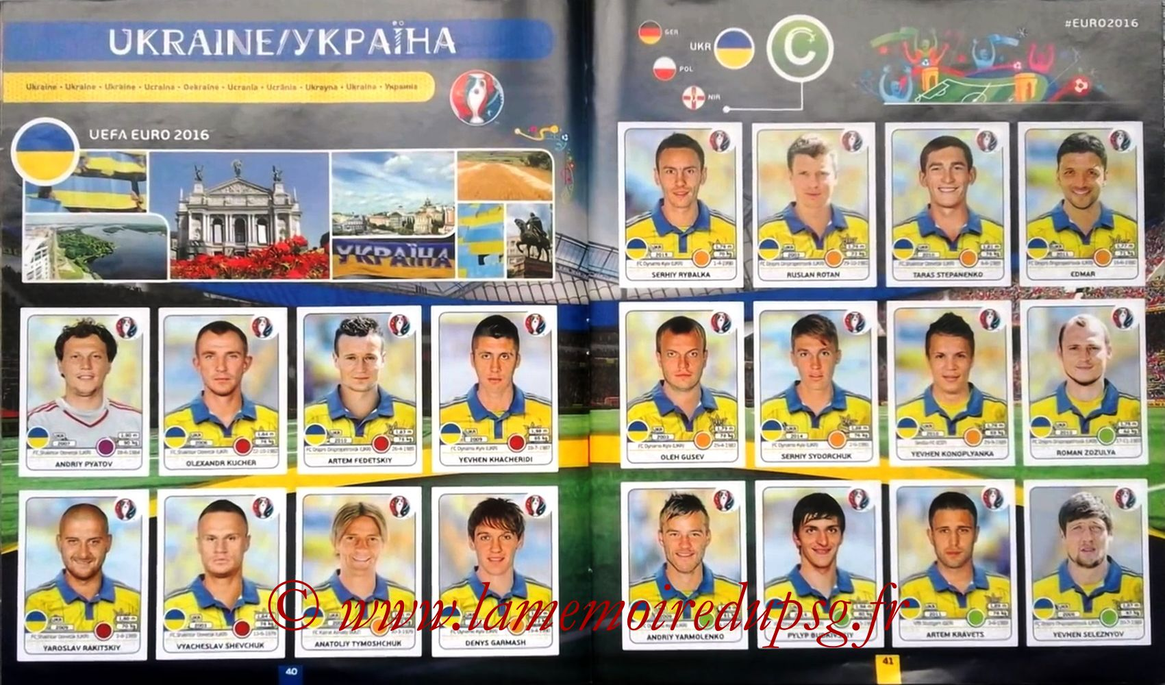 Panini Euro 2016 Stickers - Pages 40 et 41 - Ukraine