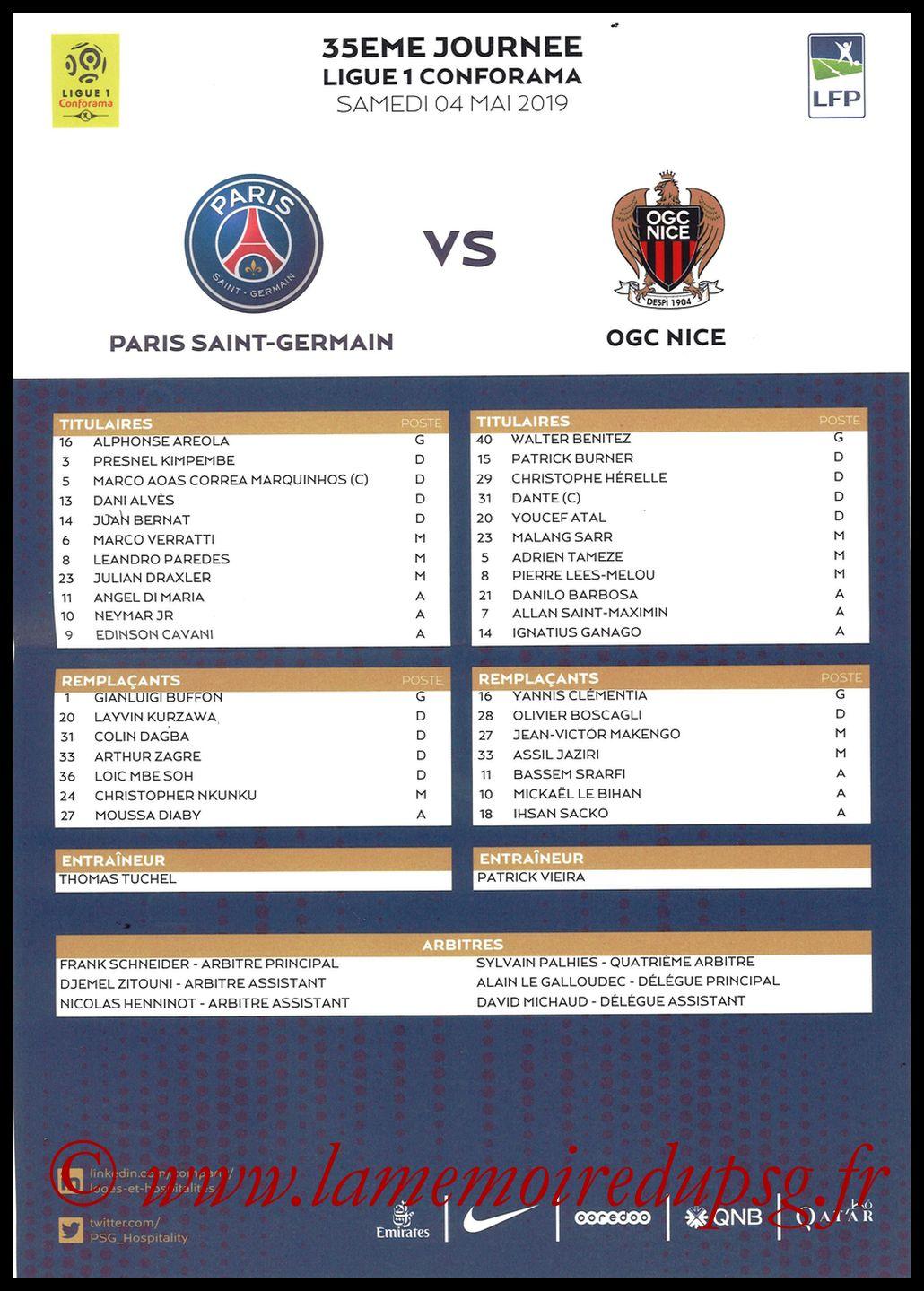 2019-05-04  PSG-Nice (35ème L1, Feuille de match)