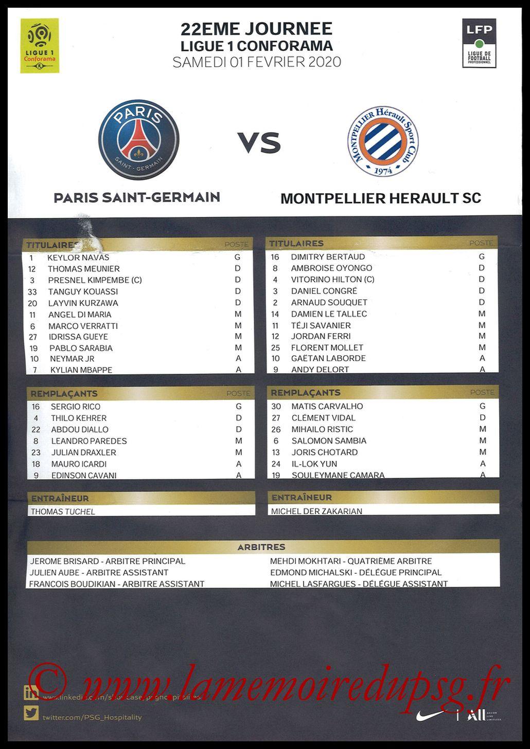 2020-02-01  PSG-Montpellier (22ème L1, Feuille de match)
