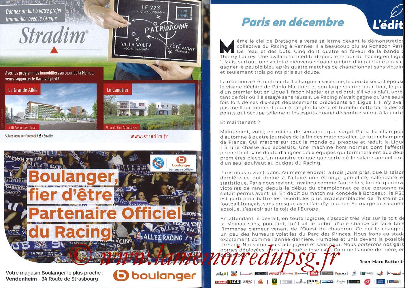 2018-12-05  Strasbourg-PSG (16ème L1, Passion Racing N°7) - Pages 02 et 03