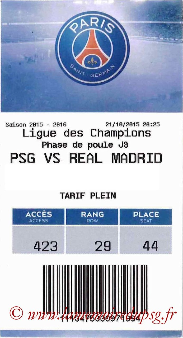 2015-10-21  PSG-Real Madrid (3ème C1, E-ticket)