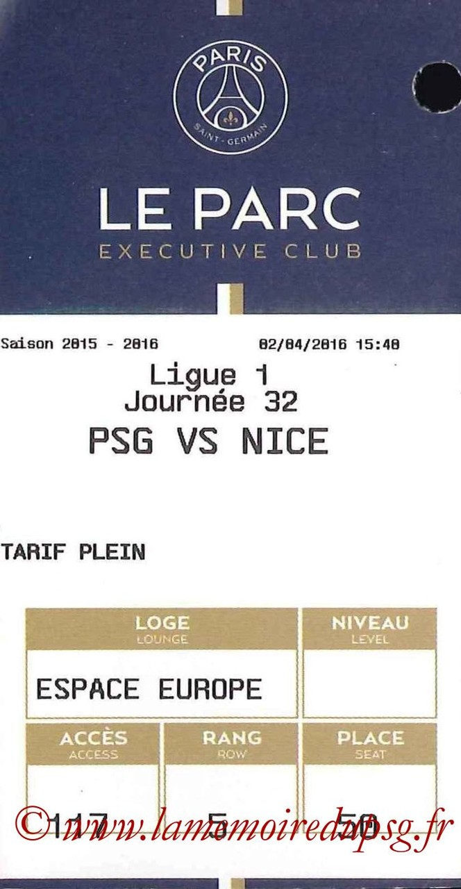 2016-04-02  PSG-Nice (32ème L1, E-ticket Executive Club)