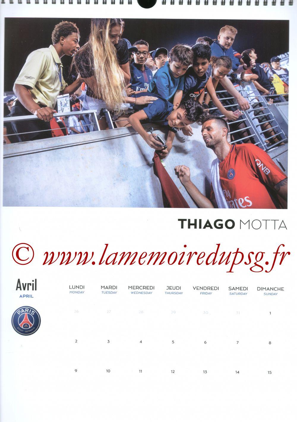 Calendrier PSG 2018 - Page 07 - Thiago MOTTA