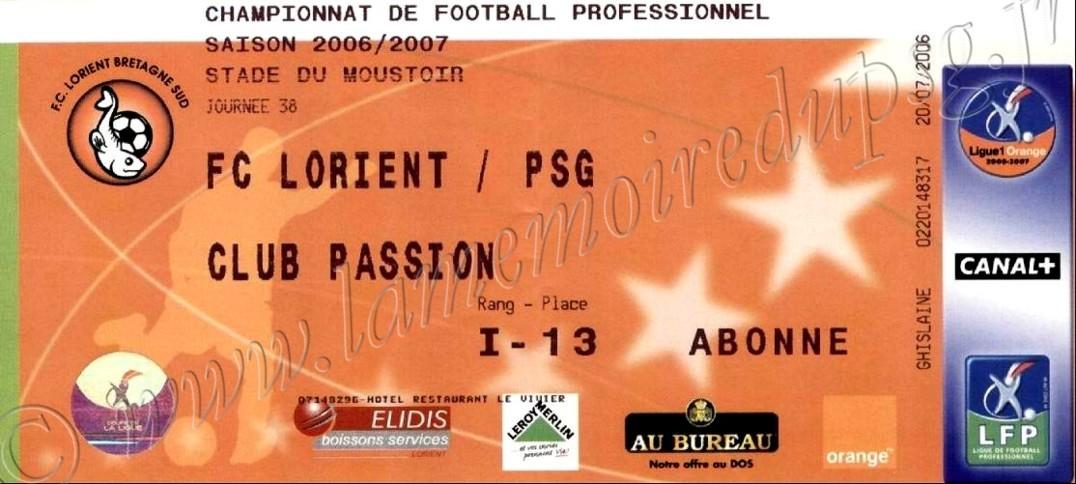 2007-05-26  Lorient-PSG (38ème L1)