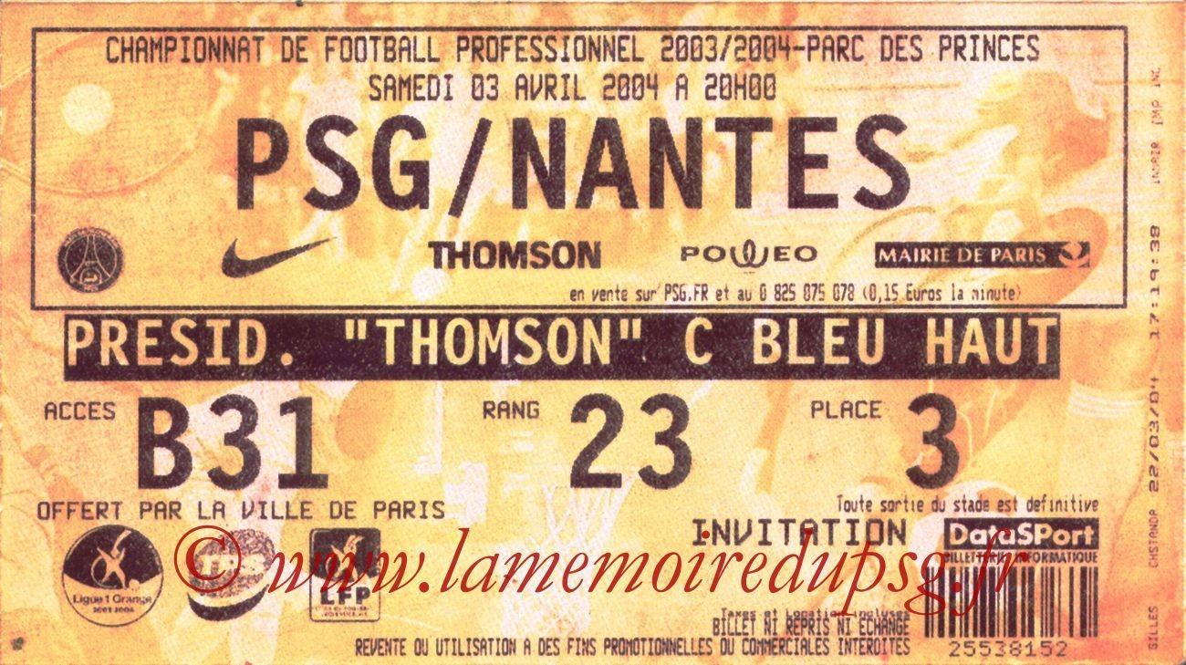 2004-04-03   PSG-Nantes (31ème L1, bis)