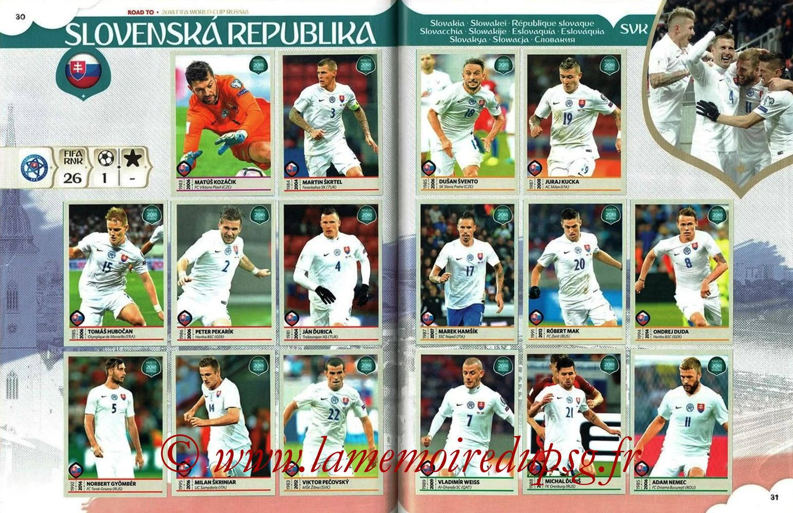 2018 - Panini Road to FIFA World Cup Russia Stickers - Pages 30 et 31 - République Slovaque