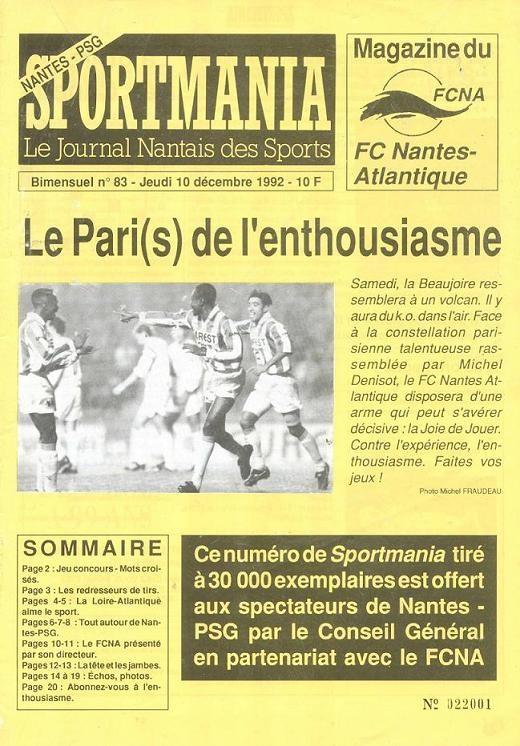 1992-12-10  Nantes-PSG (18ème D1, Sportmania N° 83)