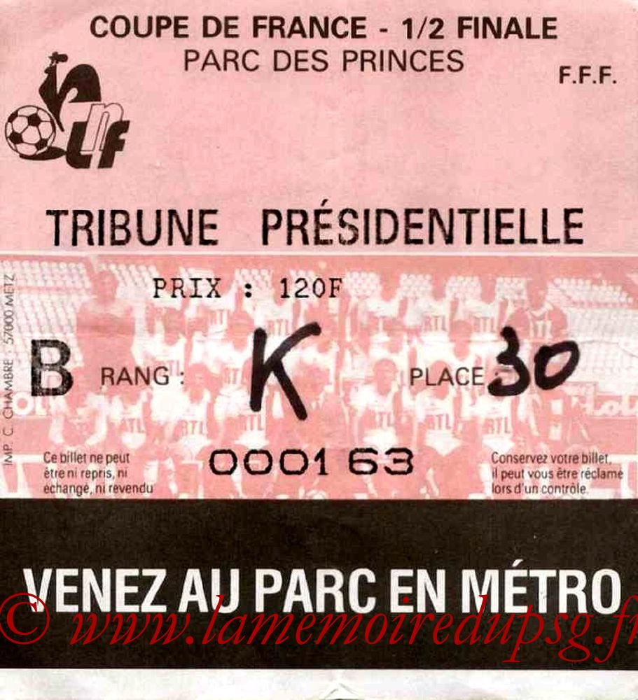 Ticket  PSG-Toulouse  1984-85