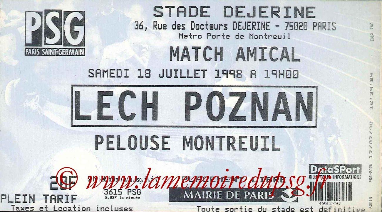 1998-07-18  PSG-Lech Poznan (Amical à la porte de Montreuil)