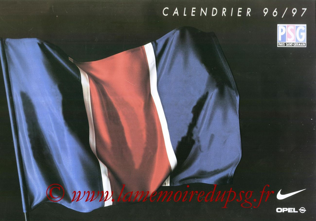 Calendrier PSG 1996-97 - Couverture