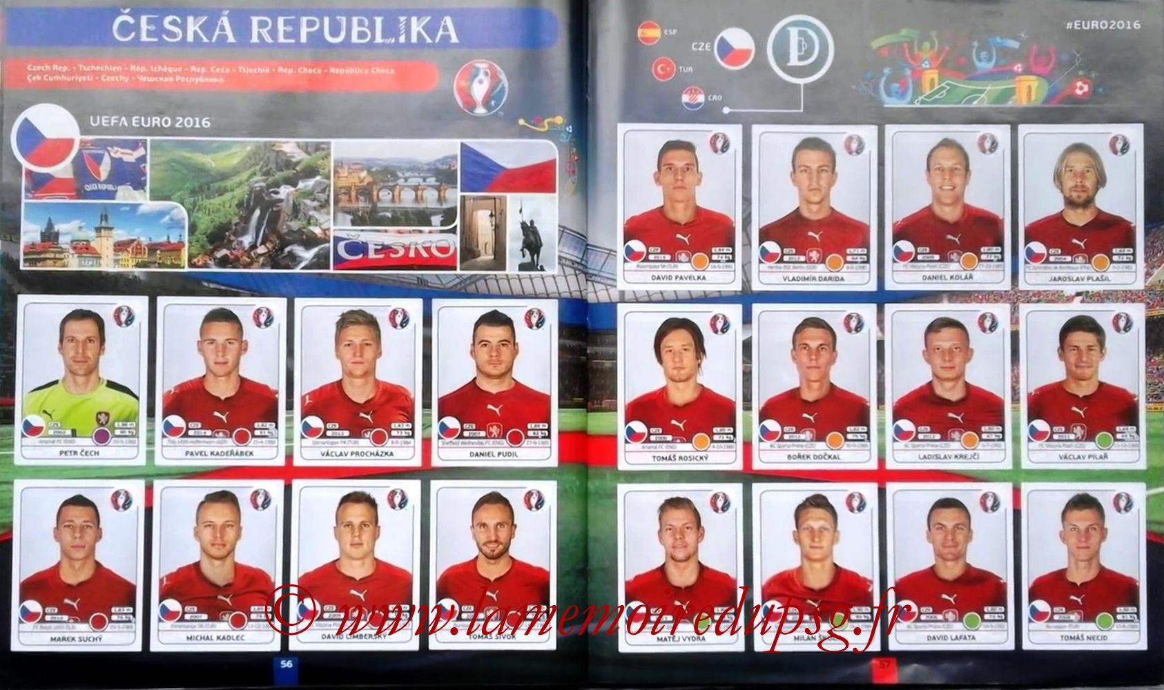 Panini Euro 2016 Stickers - Pages 56 et 57 - République Tchèque