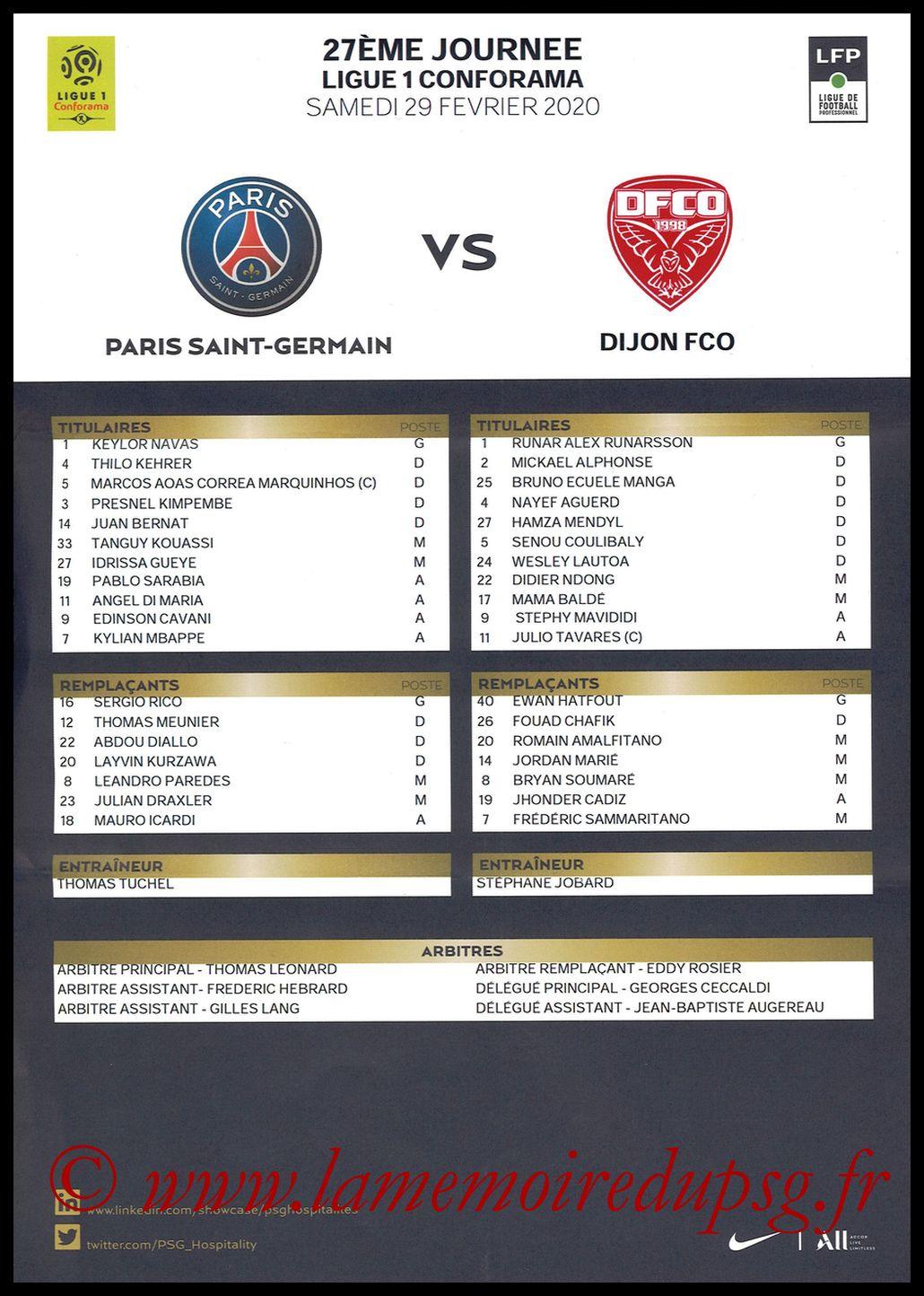2020-02-29  PSG-Dijon (27ème L1, Feuille de match)