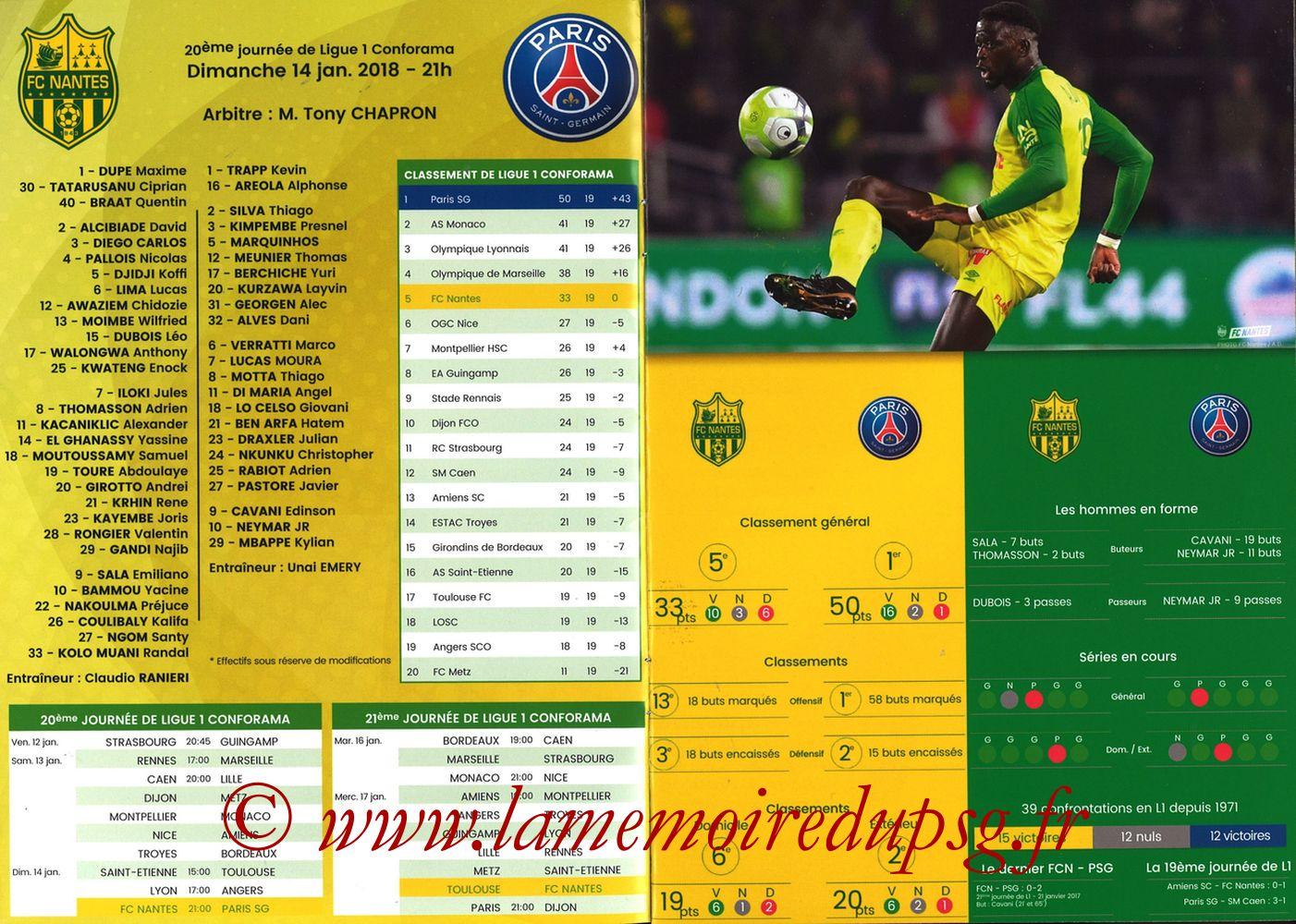2018-01-14  Nantes-PSG (20ème L1, Programme officiel) - Pages 02 et 03