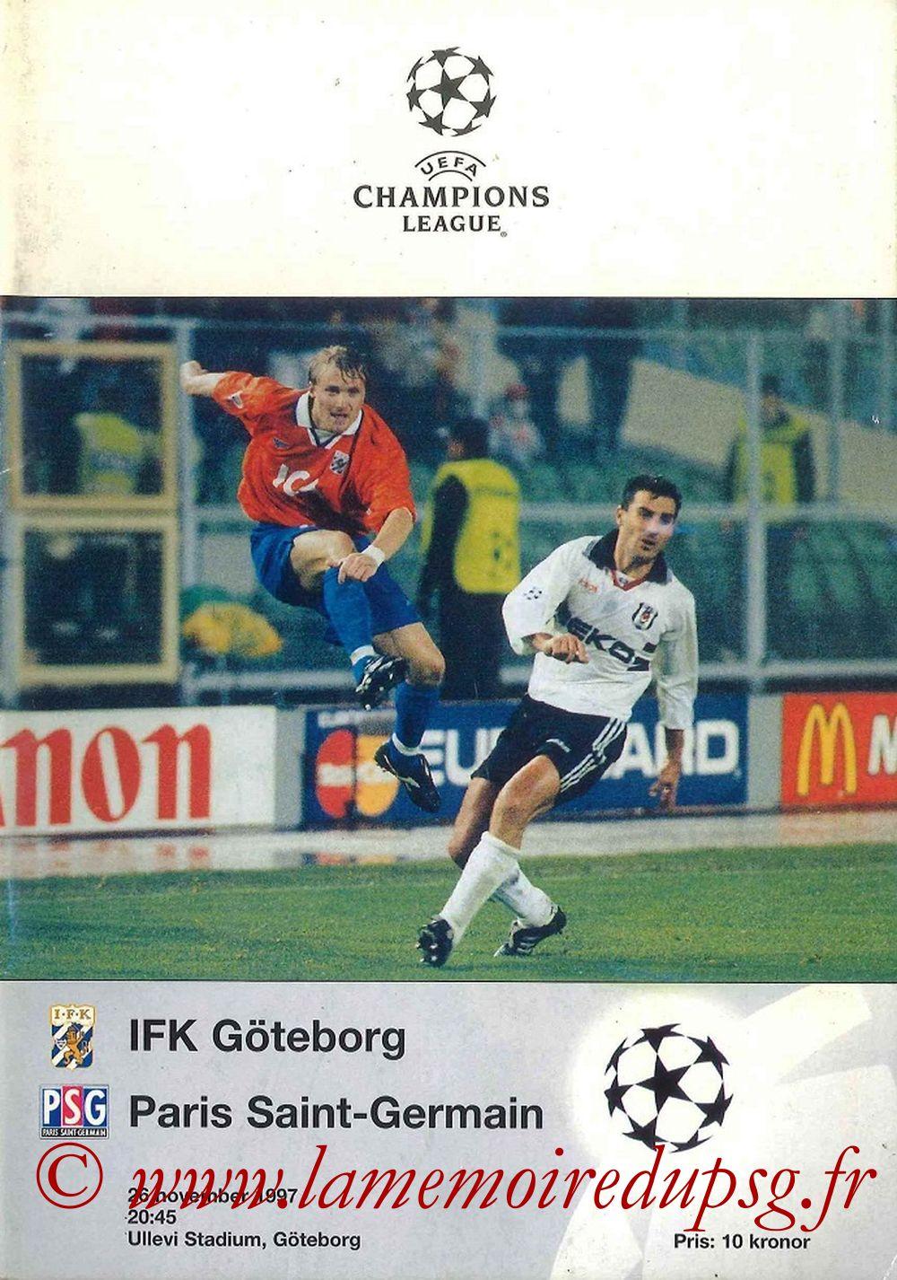 1997-11-26  IFK Goteborg-PSG (5ème Poule C1, Programme Officiel UEFA)
