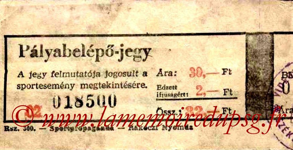 Ticket  Videoton-PSG  1984-85