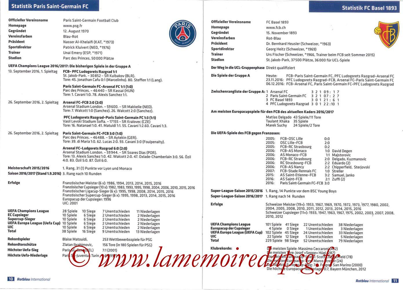 2016-11-01  FC Bale-PSG (4ème C1, Programme officiel) - Pages 10 et 11