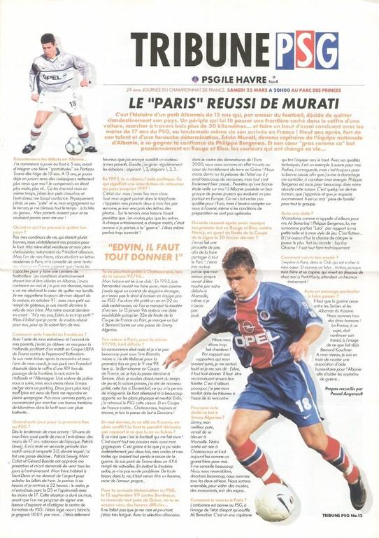 2000-03-25  PSG-Le Havre (29ème D1, Tribune PSG N°12)