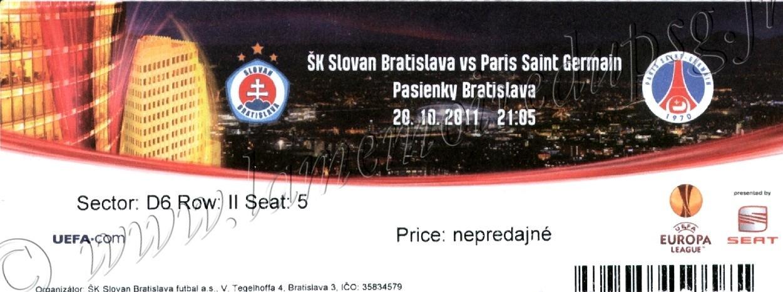 2011-10-20  Slovan Bratislava-PSG (3ème Journée Poule C3)