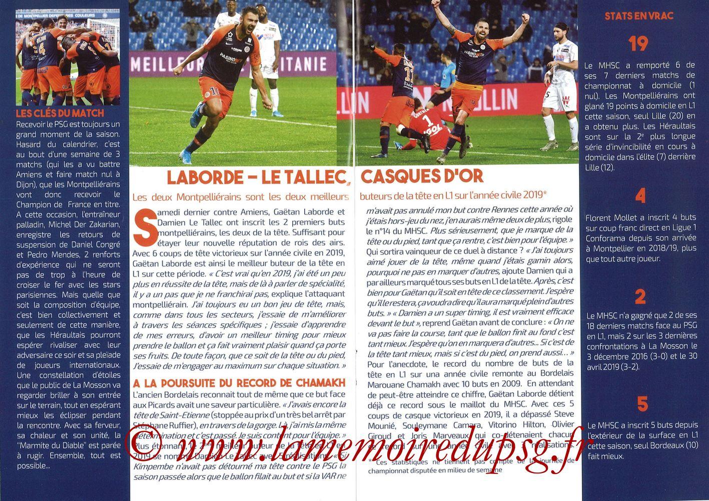 2019-12-07  Montpellier-PSG (17ème L1, L'Echo de la Mosson N°9) - Pages 12 et 13