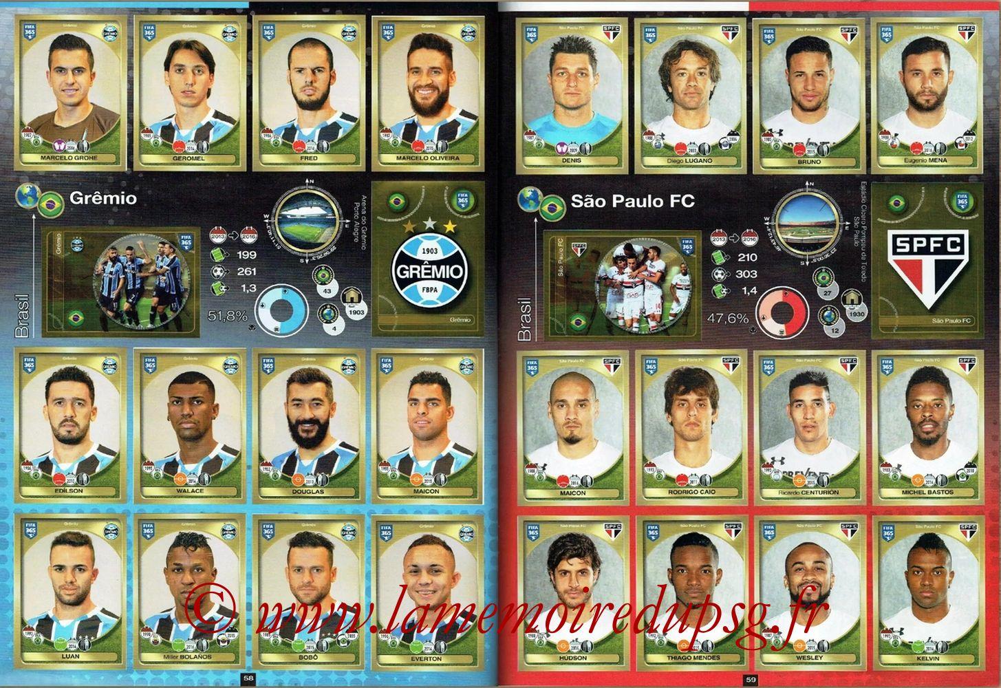 2016-17 - Panini FIFA 365 Stickers - Pages 58 et 59 - Gremio + Sao Paulo FC
