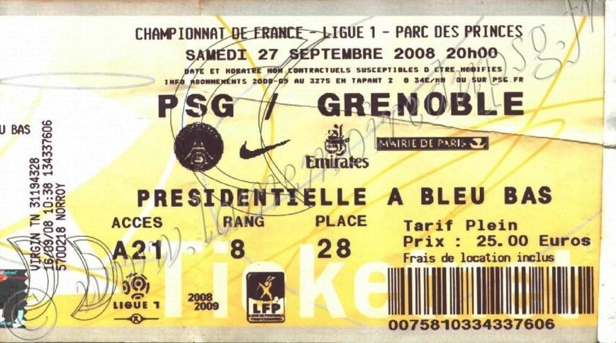 2008-09-27  PSG-Grenoble (7ème L1, Ticketnet)