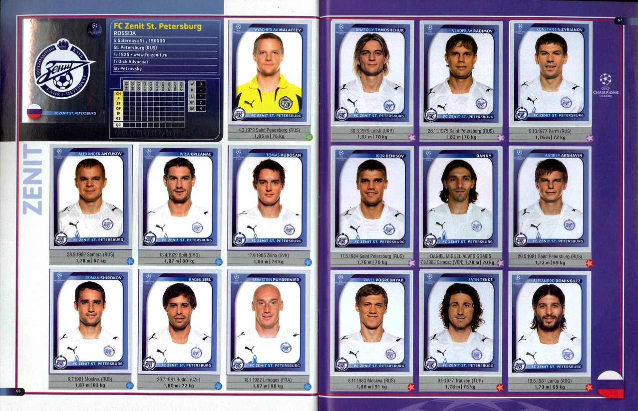 2008-09 - Panini Champions League - Pages 66 et 67 - Zenit Saint Petersburg